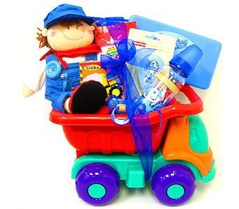 BabyGB67 ''Toy Truck'' New Baby Gift Basket in Oklahoma City OK, Array of Flowers & Gifts