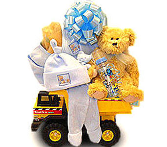 BabyGB70 ''Tonka Truck'' New Baby Gift Basket in Oklahoma City OK, Array of Flowers & Gifts