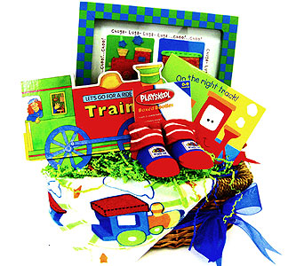 BabyGB60 ''Train Ride'' Gift Basket in Oklahoma City OK, Array of Flowers & Gifts