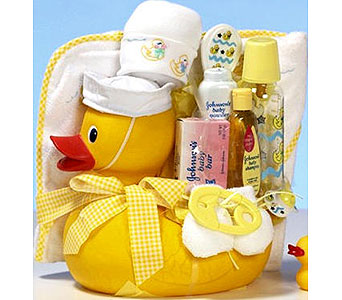 BabyGB54 ''Yellow Ducky'' New Baby Gift Basket in Oklahoma City OK, Array of Flowers & Gifts