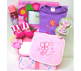 BabyGB52 ''Blooming Butterflies'' Baby Girl Gift Basket in Oklahoma City OK, Array of Flowers & Gifts