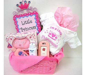 BabyGB53 ''Little Princess'' Baby Girl Gift Basket in Oklahoma City OK, Array of Flowers & Gifts