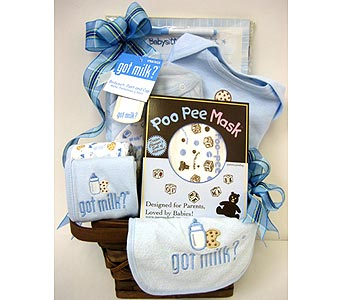 BabyGB50  ''Got Milk??'' Baby Boy Gift Basket in Oklahoma City OK, Array of Flowers & Gifts