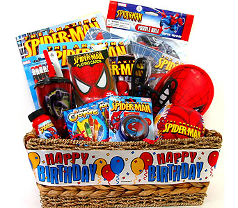 KGB16  ''Spider Man'' Birthday Gift Basket in Oklahoma City OK, Array of Flowers & Gifts