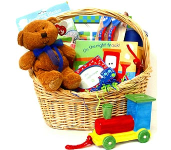 BabyGB58 ''Right on Track'' Train Baby Basket in Oklahoma City OK, Array of Flowers & Gifts