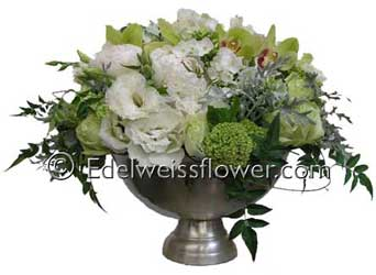 White & Green Elegance Flower Bouquet in Santa Monica CA, Edelweiss Flower Boutique