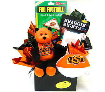 OSU32 ''Orange and Black'' OSU Gift Basket in Oklahoma City OK, Array of Flowers & Gifts