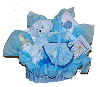 Baby Gift Basket in Blue in Scarborough ON, Helen Blakey Flowers