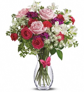 Pink Butterfly Bouquet by Teleflora in South Plainfield NJ, Mohn's Flowers & Fancy Foods