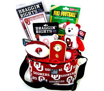 OU30 ''Braggin' Rights'' OU Gift Basket in Oklahoma City OK, Array of Flowers & Gifts