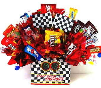 CB249 ''Start Your Engines'' Candy Bouquet in Oklahoma City OK, Array of Flowers & Gifts