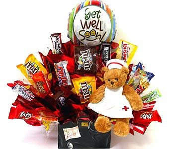 CB245 ''Nurse Bear Get Well'' Candy Bouquet in Oklahoma City OK, Array of Flowers & Gifts
