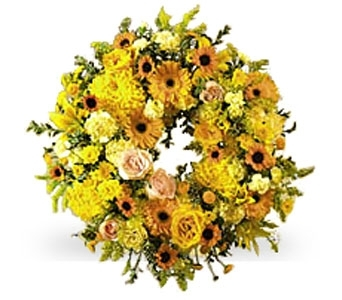 Yellow Wreath in Rock Island IL, Colman Florist