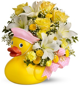 Teleflora's Just Ducky Bouquet - Girl - Premium in Woburn MA, Malvy's Flower & Gifts