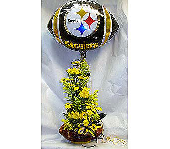 Pittsburgh Steelers wicker football arrangement in Pittsburgh PA, Harolds Flower Shop
