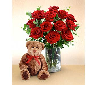 Red Roses and Hugs with Vase in San Antonio TX, Blooming Creations Florist