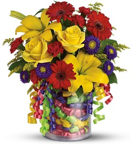 Teleflora's Birthday Ribbon Bouquet - Deluxe in Utica NY, Chester's Flower Shop And Greenhouses