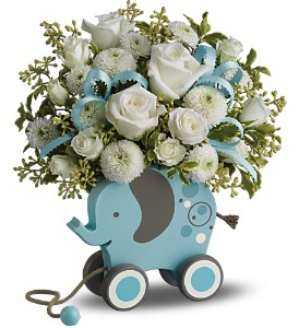 MiGi's Baby Elephant Bouquet by Teleflora - Blue in Isanti MN, Elaine's Flowers & Gifts