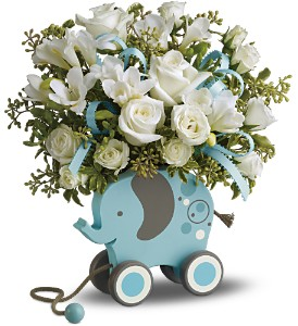 MiGi's Baby Elephant Bouquet Deluxe - Blue in Grass Lake MI, Designs By Judy