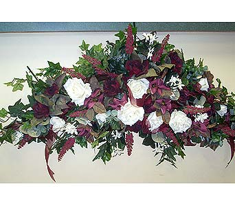 White and Burgandy SwagePlease call for more info 888-279-7845 in Manotick ON, Manotick Florists