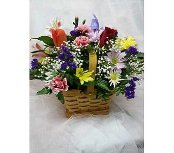 Springtime Picnic Basket Arrangement in New Paltz NY, The Colonial Flower Shop