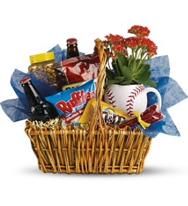 Dad's Play Ball Snack Basket by Teleflora in Baltimore MD, Raimondi's Flowers & Fruit Baskets