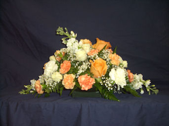 Orange & White Center Piece in Sun City Center FL, Sun City Center Flowers & Gifts, Inc.