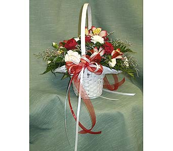 Red & White Flower GirlPlease call for more info 888-279-7845 in Manotick ON, Manotick Florists