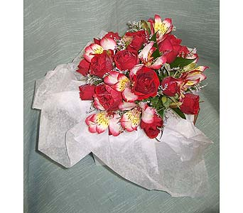 Red and White Alstro PosiePlease call for more info 888-279-7845 in Manotick ON, Manotick Florists