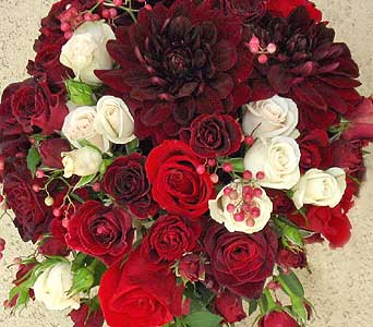 Varigated Red Wedding Flower Bouquet in Kennewick WA, Heritage Home Accents & Floral