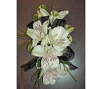 Alstromeria Lily Corsage in Raleigh NC, Gingerbread House Florist - Raleigh NC