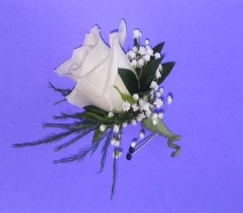 Classic White Rose Boutonniere in Raleigh NC, North Raleigh Florist