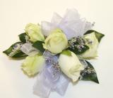 White Rose & Limonium Wrist Corsage in Cary NC, Preston Flowers