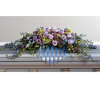 Delphinium and Lavender Rose Casket Spray in West Bloomfield MI, Happiness is...Flowers & Gifts