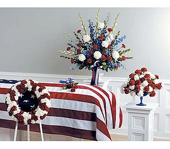 Red & White Patriotic Presentation in West Bloomfield MI, Happiness is...Flowers & Gifts