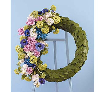 Eucalyptus Scaled Wreath & Floral Accents in West Bloomfield MI, Happiness is...Flowers & Gifts