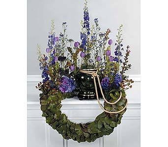 Lavender and Scaled Bent Wreath Memorial in West Bloomfield MI, Happiness is...Flowers & Gifts