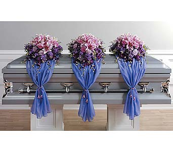 Casket Spray with Fabric Drape in West Bloomfield MI, Happiness is...Flowers & Gifts