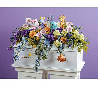 Plush Animal Infant Casket Spray in West Bloomfield MI, Happiness is...Flowers & Gifts