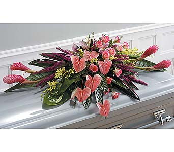Tropical Casket Spray in West Bloomfield MI, Happiness is...Flowers & Gifts