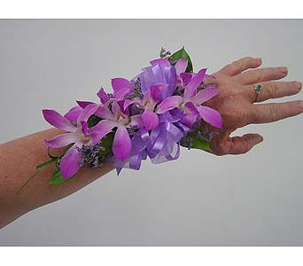 light purple dendrobium wrist corsage in West Los Angeles CA, Westwood Flower Garden