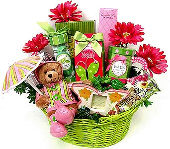 GF141 ''Splish Splash'' Gift & Food Basket in Oklahoma City OK, Array of Flowers & Gifts