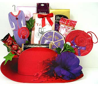 GF140 ''Red Hat Ladies'' Gourmet Gift in Oklahoma City OK, Array of Flowers & Gifts