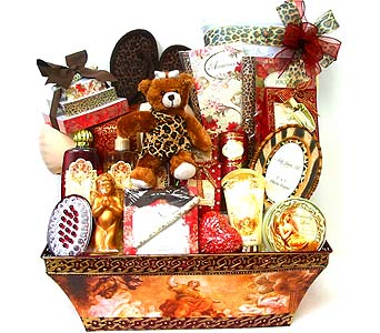 GB298 ''Leopard Lady'' Bath, Body and Gift Basket in Oklahoma City OK, Array of Flowers & Gifts