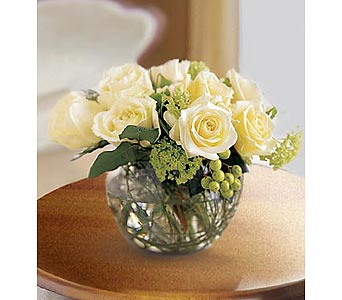Small White Bowl Bouquet in Bellevue WA, CITY FLOWERS, INC.
