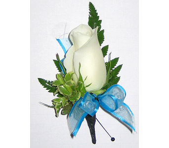 White Rose with Caribbean Blue Boutonniere in Wyoming MI, Wyoming Stuyvesant Floral