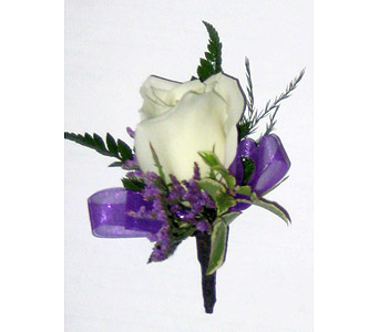 White Rose with Purple Accents Boutonniere in Wyoming MI, Wyoming Stuyvesant Floral