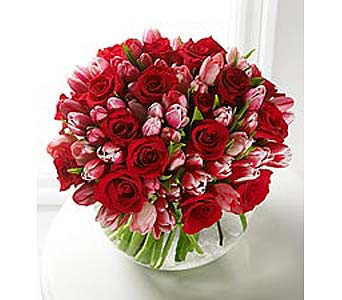 Red Roses & Pink Tulips in Bellevue WA, CITY FLOWERS, INC.