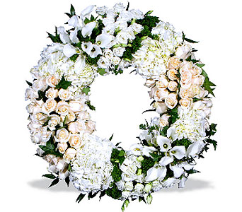 Purely White Wreath in Fairfield CT, Hansen's Flower Shop and Greenhouse