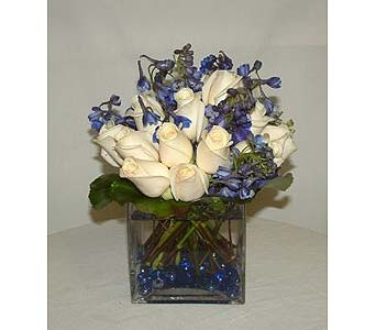 Blue & White Cube Centerpiece in Salisbury MD, Kitty's Flowers